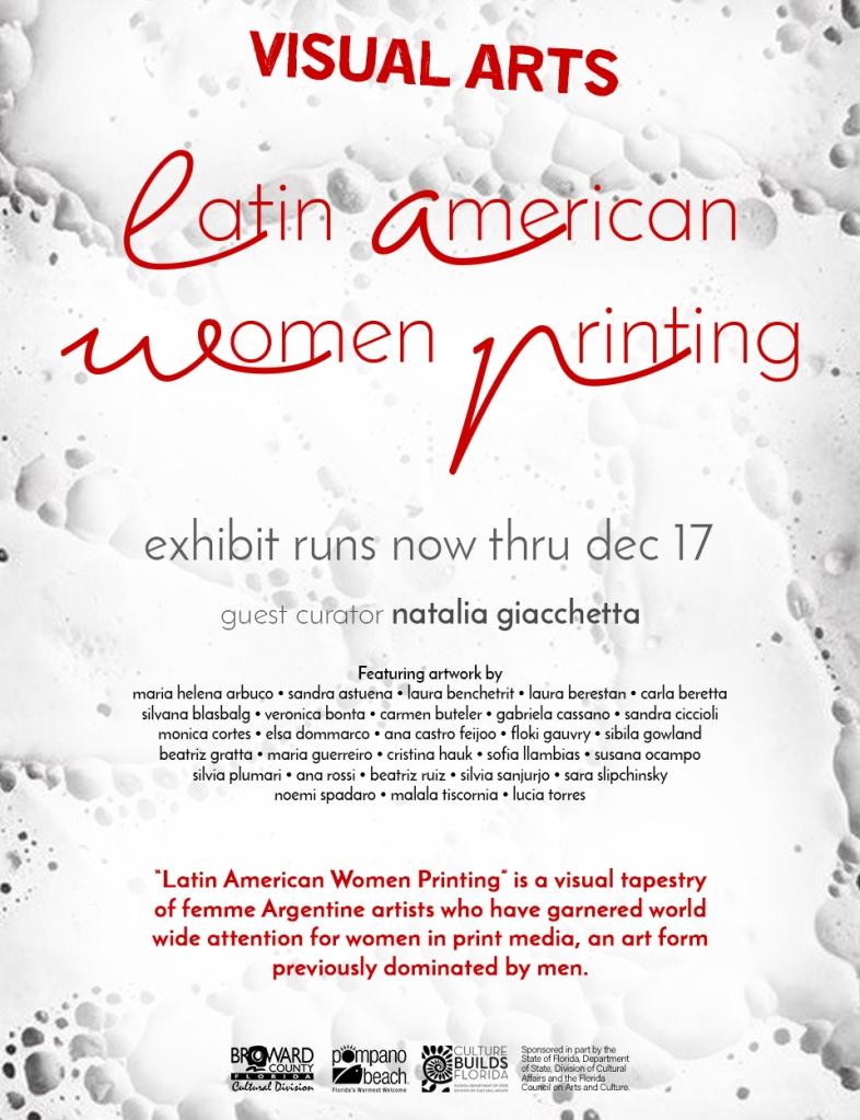 «Latinamerican women printing» en el Centro Cultural de Pompano Beach, 2017