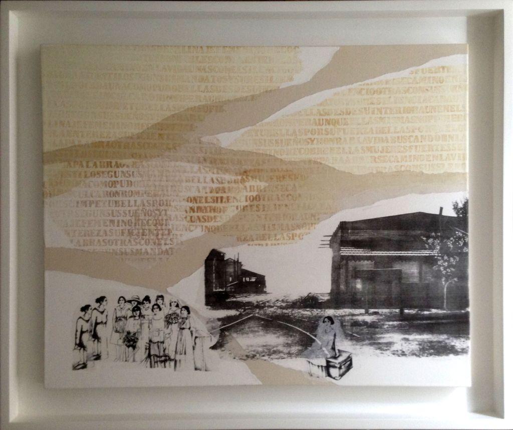 LUCIA TORRES con «MIGRANTE» - Litografía, Xilografía, Marouflage - 100x120cm - Año 2016 «61 Salón de Artes Plásticas Manuel Belgrano» en el Museo de Artes Plásticas Eduardo Sívori, 2016