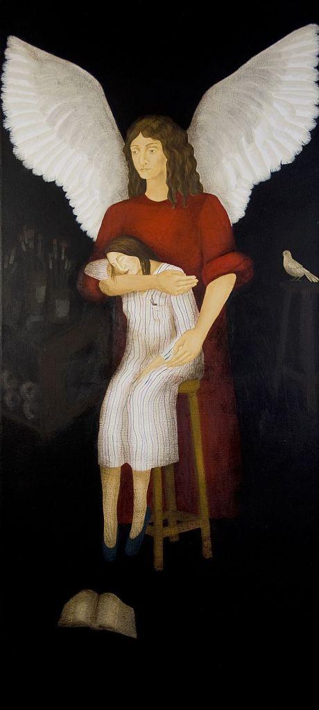 LUCIA TORRES «ARTE SACRO» con «El Angel del Artista» Öleo sobre tela 200x90cm. «PRIMER PREMIO - XXXVIII SALON DE ARTE SACRO DE TANDIL» Año 2009. Museo Municipal de Bellas Artes de Tandil