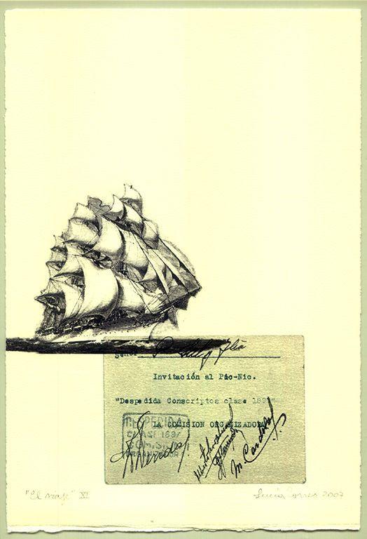 LUCIA TORRES «EL VIAJE» XI - Transfer s/Velin Arches creme 250grs 1/1 - 28x19cm en marco 40x30cm - Año 2007