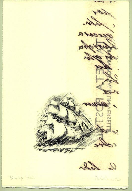 LUCIA TORRES «EL VIAJE» XXII - Transfer s/Velin Arches creme 250grs 1/1 - 28x19cm en marco 40x30cm - Año 2007