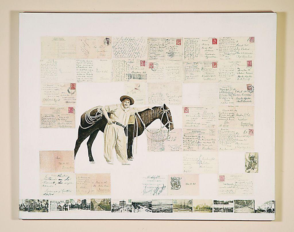 LUCIA TORRES «HISTORIAS DE FAMILIA» II - Oleo y Transfer sobre canvas 80x100cm - Año 2005