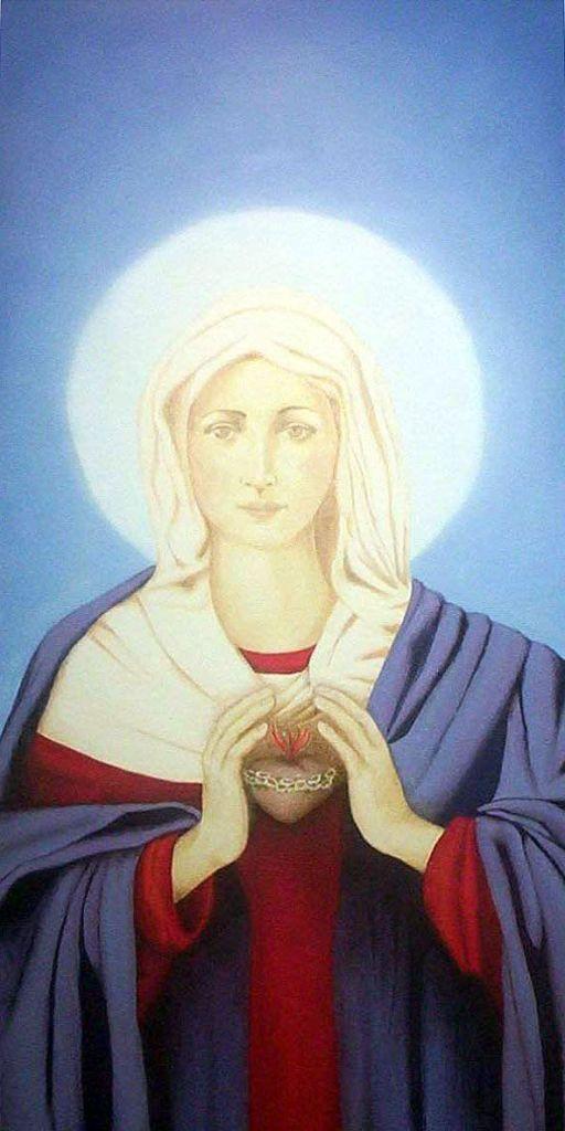 LUCIA TORRES «ARTE SACRO» CON «Inmaculado Corazón de María» Öleo sobre tela 120x60cm - Año 2004. Parroquia Sagrado Corazón de Río Gallegos, Santa Cruz