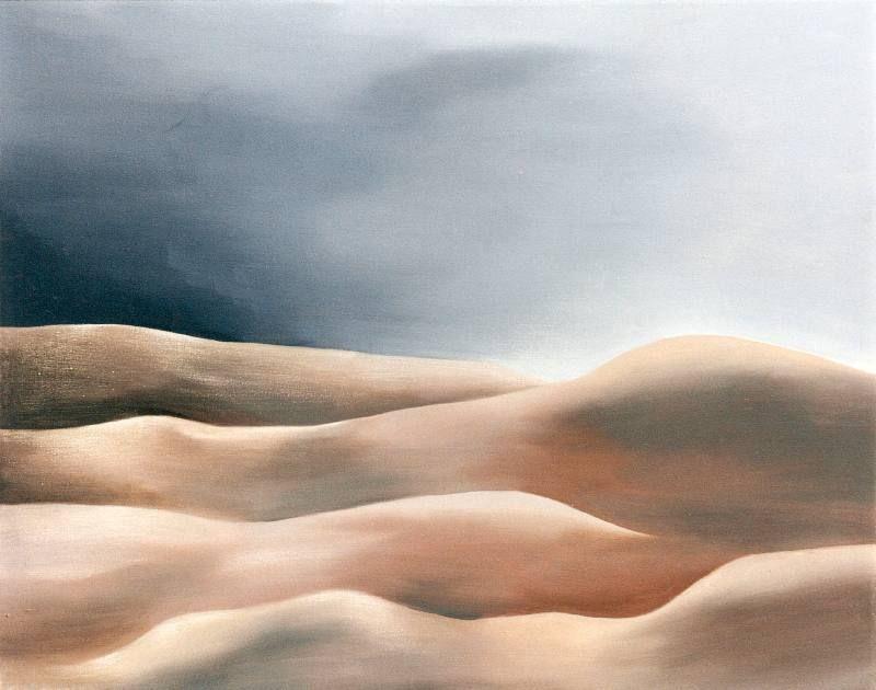 LUCIA TORRES «MESETA..., PATAGONIA..., ESA PIEL...» con «Interiores...» 11 - Óleo sobre tela 80x100cm - Año 2000