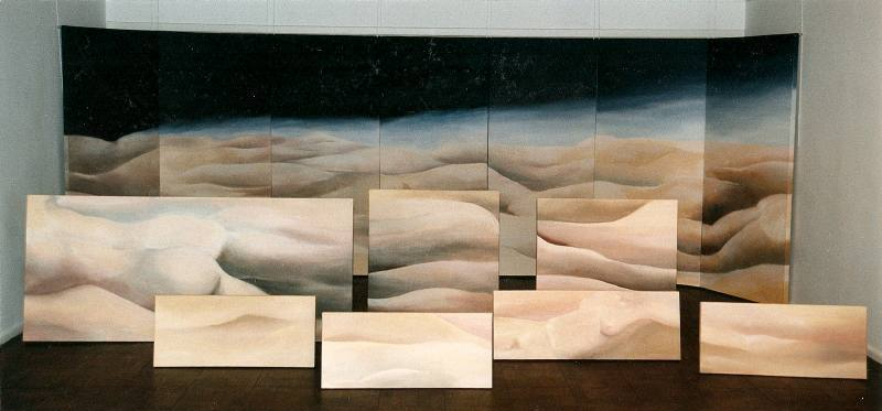 LUCIA TORRES «MESETA..., PATAGONIA..., ESA PIEL...» (ambientación) con Óleo sobre tela - 200x600x500cm - Año 2001