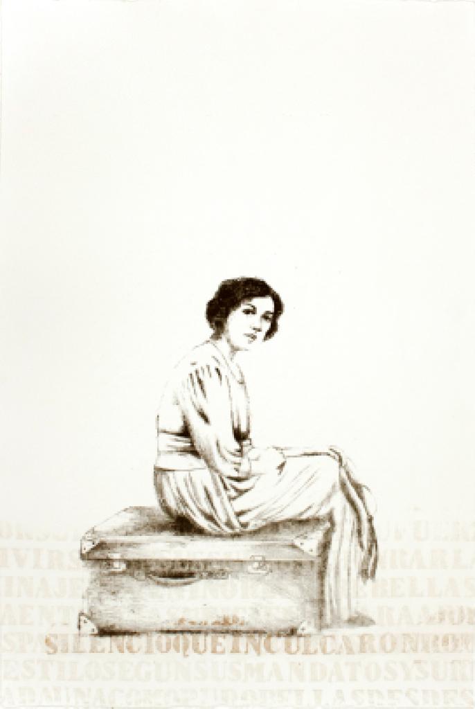 LUCIA TORRES «Migrante» 36 - Litografía, Xilografía, Poliester print 56x37,5cm - Año 2013