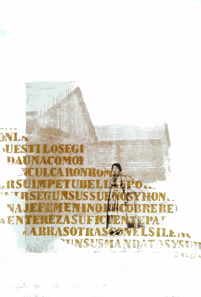 LUCIA TORRES «Migrante» 38 - Litografía, Xilografía 56x38cm - Año 2013