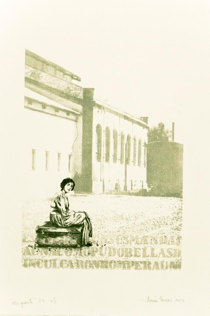 LUCIA TORRES «Migrante» 39 - Litografía, Poliester print, Xilografía 57x37,5cm - Año 2013