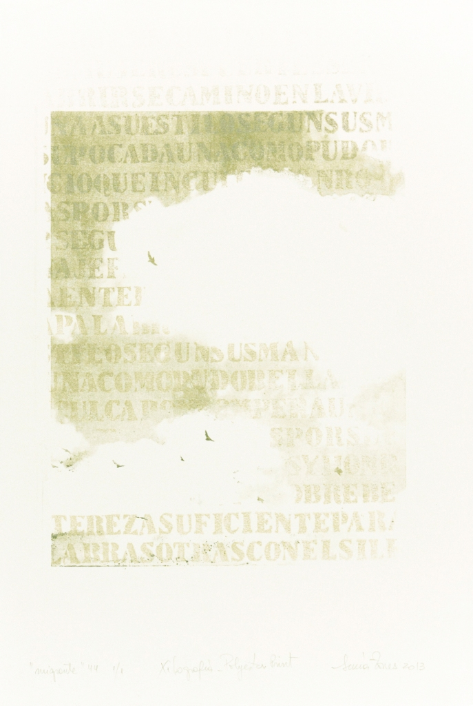 LUCIA TORRES «Migrante» 44 - Litografía en Poliester, Xilografía 56x38cm - Año 2013