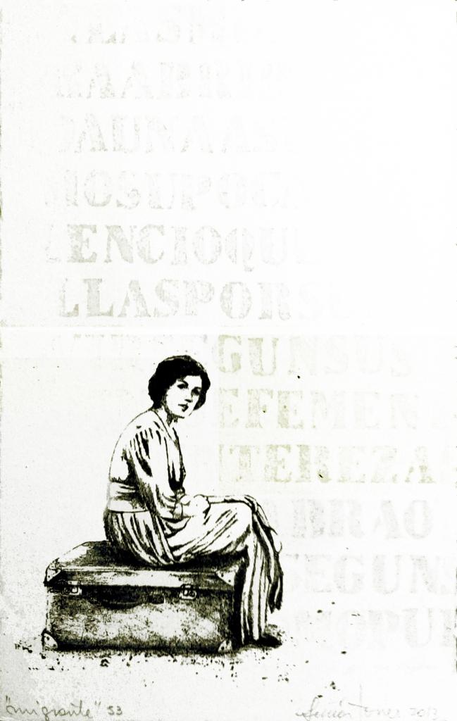LUCIA TORRES «Migrante» 53 - Litografía en Poliester 30x19cm - Año 2013