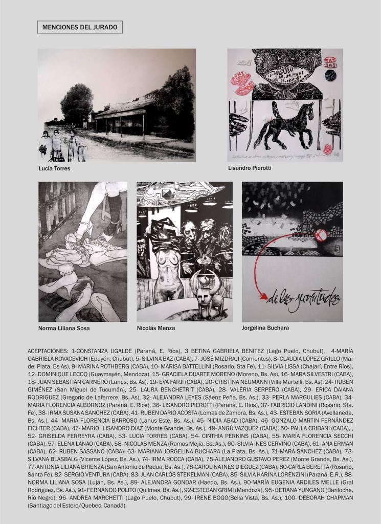 LUCIAS TORRES «MENCIÓN» en el «XVI SALON NACIONAL DE ENTRE RÍOS - GRABADO 2015» en el Museo Provincial de dibujo y grabado «Artemio Alisio», Concepción del Uruguay, Entre Ríos