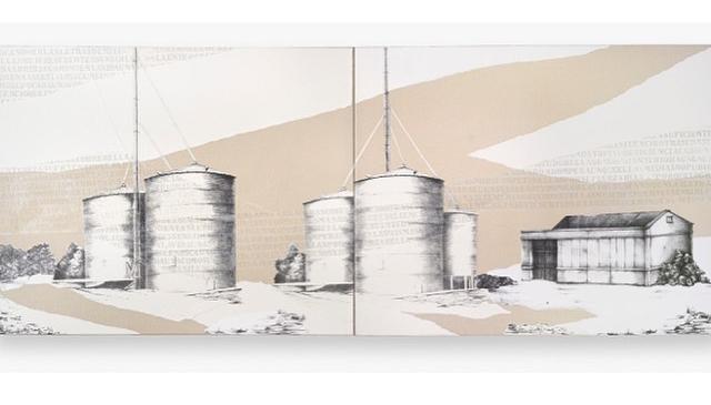 LUCIA TORRES - de la Serie «MIGRANTE» Díptico - Litografía, marouflage - 200x80cm - Año 2019 «XV Salón de Artes Visuales» Junín 2019, MACA - Museo de Arte Contemporáneo Argentino