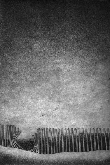 LUCIA TORRES «BUSCANDO ESA CASA» VIII - Aguafuerte 37x27,5cm - Año 1984 «PREMIO RECOMENDACIÓN, Grabado. Concurso ´Coca Cola en las Artes y las Ciencias´»