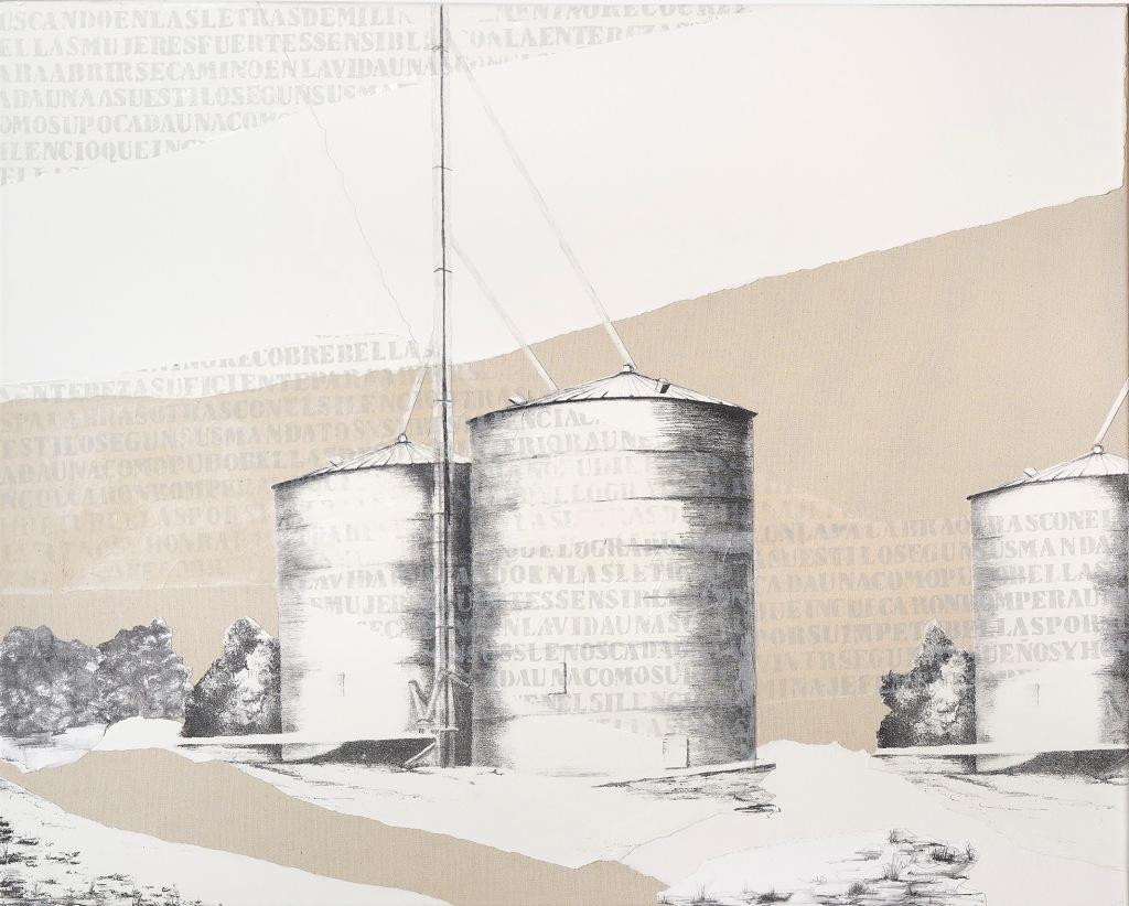 LUCIA TORRES - de la Serie «MIGRANTE» Litografía, marouflage - 200x80cm - Año 2019 (DETALLE 1) «XV Salón de Artes Visuales» Junín 2019, MACA - Museo de Arte Contemporáneo Argentino