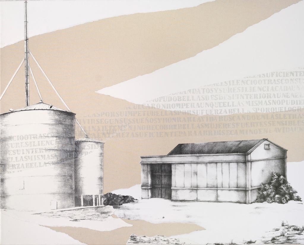 LUCIA TORRES - de la Serie «MIGRANTE» Litografía, marouflage - 200x80cm - Año 2019 (DETALLE 2) «XV Salón de Artes Visuales» Junín 2019, MACA - Museo de Arte Contemporáneo Argentino