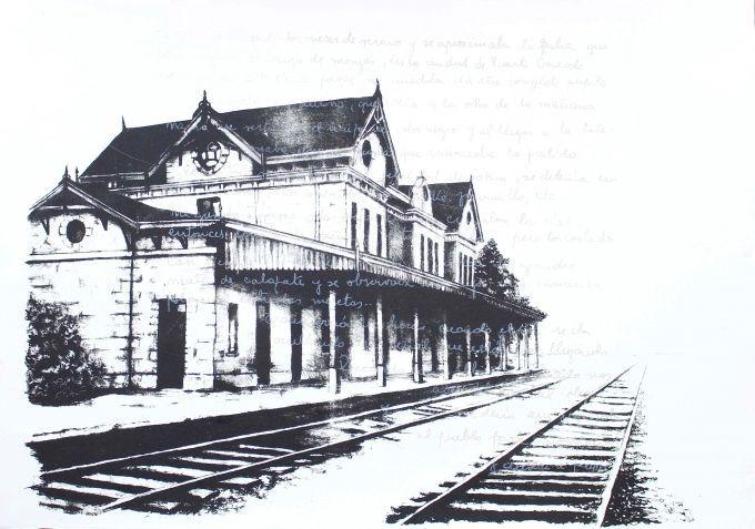 LUCÍA TORRES «MIGRANTE» 102 Estación Puerto Deseado - Litografía - 80x100cm - Año 2014 «MENCIÓN 104° SALÓN NACIONAL»