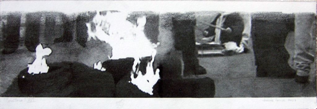 LUCIA TORRES con «Territorio XVI» Transfer de 19x56cm - Año 2007 en RE[conocer]NOS «EXPOSICIÓN INTERNACIONAL DEL GRÁFICA CONTEMPORÁNEA - DIÁLOGOS E INTERPRETACIONES» en Museo de Arte de Caldas, Colombia